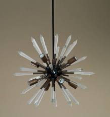 Sputnik Light Fixture by Mid Century Modern Acrylic Rock Crystal Brass Sputnik Chandelier