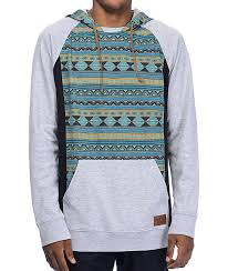 empyre get smart blue u0026 grey tribal mesh hoodie zumiez
