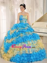 blue and yellow ruffles beading quinceanera dresses