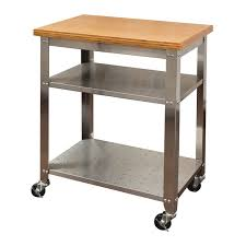 Stainless Steel Kitchen Cart With Bamboo Top Seville Classics - Stainless steel kitchen table top