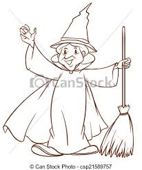 clipart vector of a simple sketch of a wizard illustration of a