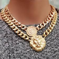 chunky chain choker necklace images Chunky gold lion queen necklace lions queens and gold jpg