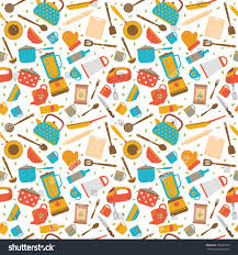 cute seamless pattern kitchen tools cooking stock vector 520692103