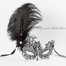 white masquerade masks for women black swan metal masquerade mask with ostrich feathers