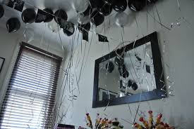 black and silver helium balloons cocktail party decor ideas