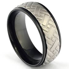 mens black titanium wedding rings unique black titanium car tire tread ring for men