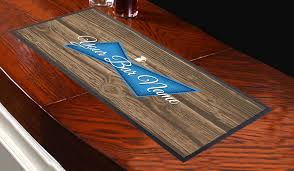 personalised blue label wood effect design bar runner great for