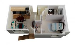 Le Plan Maison Dun Appartement Une Pièce  Idées Bedroom - Small one bedroom apartment designs