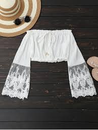 s blouse mesh panel shoulder cropped blouse white blouses s zaful