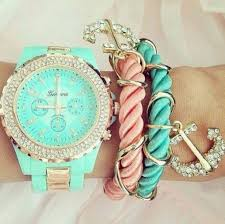 pink bracelet watches images Jewels watch pastel green light gold anchor bracelet anchor jpg