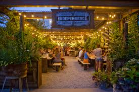 independence beer garden in philadelphia at night landscape