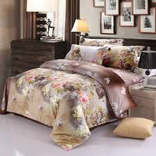 inspired bedding brown and yellow asian inspired flower blossom print
