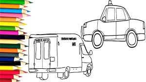 how to draw ambulance car police car and coloring rainbow colors