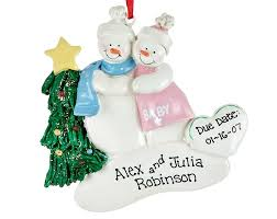 personalized family tree ornament with snow image