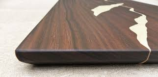 unique dark wood cutting board with mountain ridge view handmade