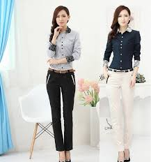styles of work suites formal women suits with pant and blouses sets 2018 spring autumn