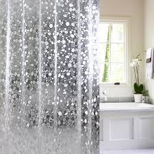 Shower Curtain Door Transparent Cobblestone Pattern Bathroom Shower Curtain Mildew