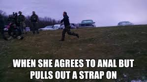 Strapon Meme - when she agrees to anal but pulls out a strap on run cody run