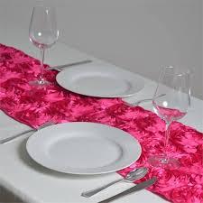 pink rosette table runner grandiose rosette satin table runner fushia 14 x 108 efavormart