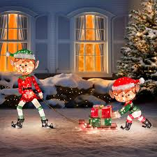 elves with presents lighted outdoor decoration set of 3