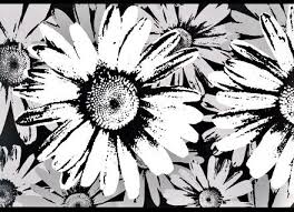 black and white metallic floral wall border