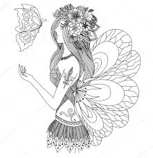 pretty fairy looking at flying butterfly design for coloring