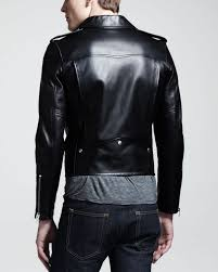 padded leather motorcycle jacket saint laurent leather motorcycle jacket in black for men lyst