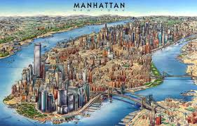 map of new york and manhattan 3d panoramic map of manhattan manhattan 3d panoramic map nymap