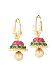 jhumkas earrings yosshita and neha pretty kundan jhumkas shop earrings at