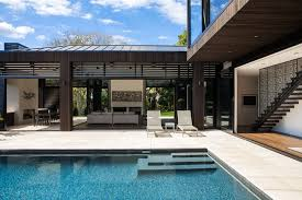 outdoor and patio pool house designs with wooden floor