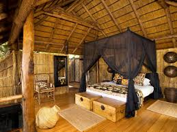 Rustic Bench Seat Bedroom Chic African Bedroom With White Comfort Canopy Bed Feat