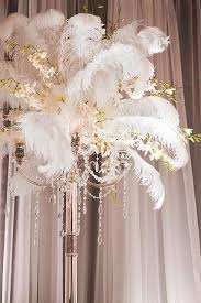 great gatsby centerpieces 20s wedding feather orchid centerpiece 2040271 weddbook