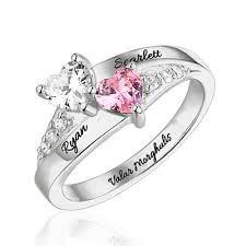 birthstone ring engraved heart birthstone ring sterling silver