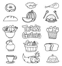 set of thanksgiving vegetable doodles royalty free vector