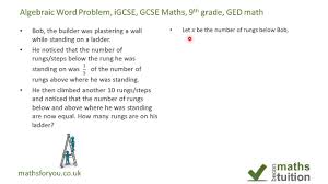 algebra word problems igcse gcse maths 9th grade ged math part
