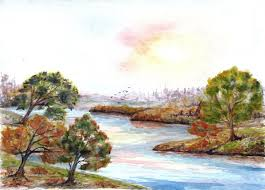 fall landscape river shore watercolor sketch artfully imperfect