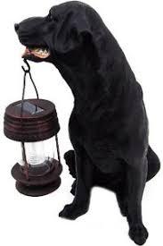 3017 black labrador retriever solar garden light statue