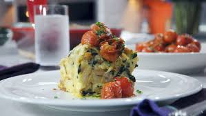 caramelized onion spinach u0026 gruyere strata with tomatoes today com