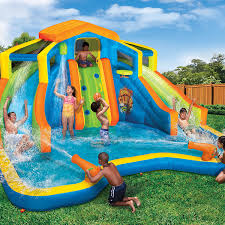 amazon com banzai inflatable adventure club dual slide and pool