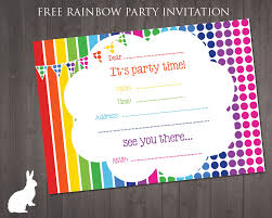 create invitations online free to print free rainbow party invitation ruby and the rabbit rainbow