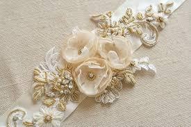 gold lace ribbon ivory bridal belt wedding dress sash flower bridal sash ivory