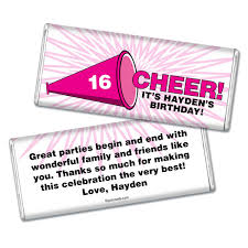 sweet 16 party favors cheer hershey bar wrappers wrapped