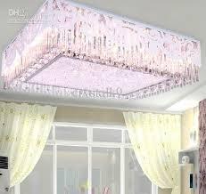 Remote Controlled Chandelier Modern Fashion Led K9 Crystal Rectangular Ceiling Lamp Living Room