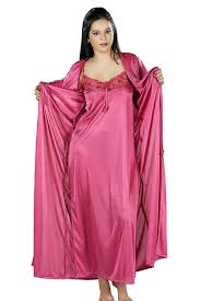 nite dress yogalz women satin nighty with robe nightwear set robe gown