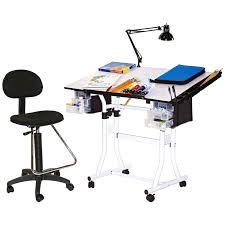 Glass Drafting Table With Light Adjustable Drawing And Drafting Table With Black Frame And Dual