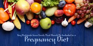 key nutrients from foods that should be included in a pregnancy diet