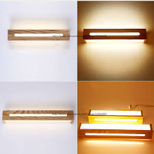 Bedroom Mirror Lights Modern Country Style Wood Led Wall L Bedroom Living Room Nordic