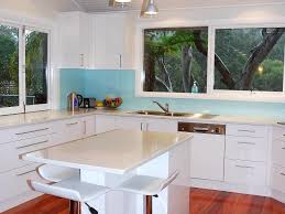 Blue Backsplash Kitchen Modern Pendant Lighting Kitchen Countertops Organic White