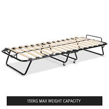 Folding Single Camping Bed Portable Folding Camping Bed With White Mattress Indoor Outdoor