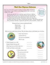 rhyme scheme poetry worksheets and classic poems
